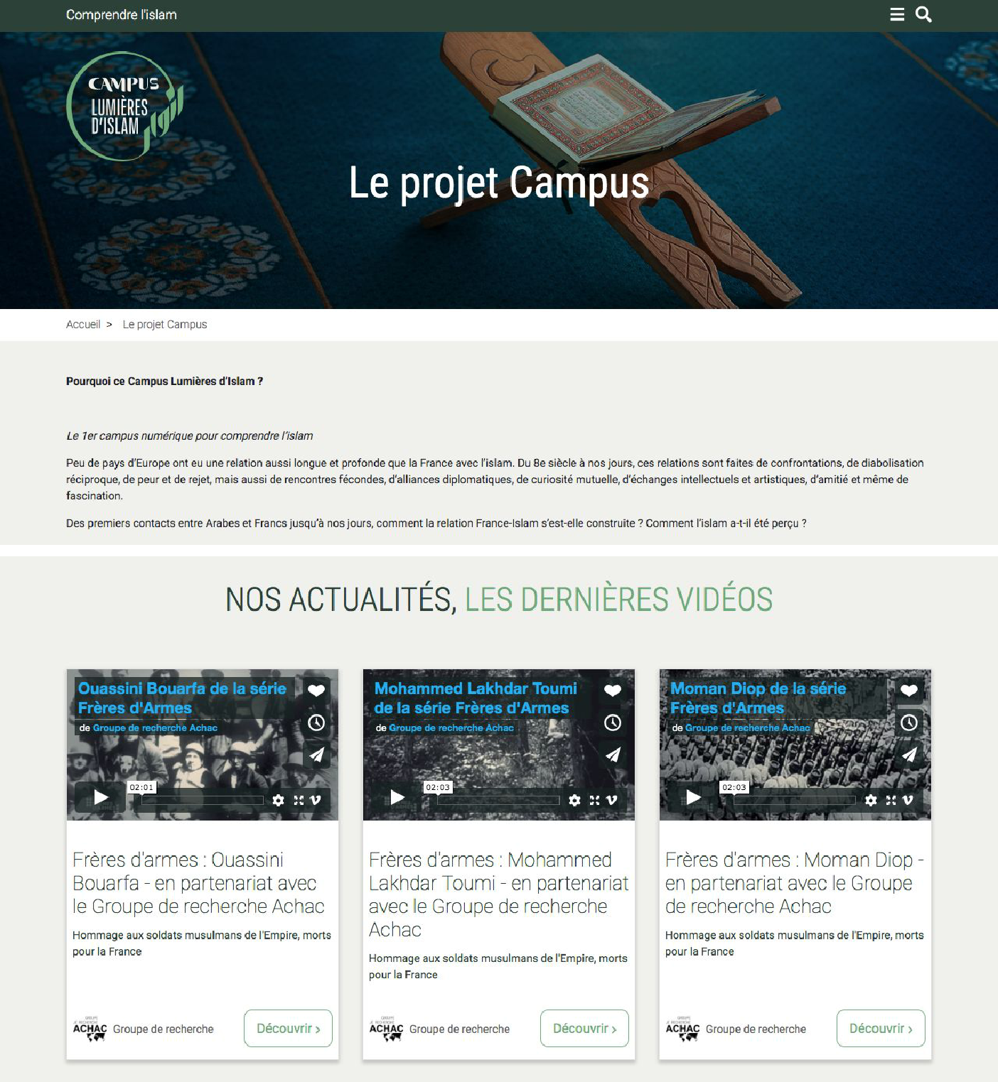 Web Site to understand Islam, the aim of Campus Lumières d'Islam